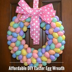 Check out this affordable DIY Easter Egg Wreath made for under $10. You can grab the supplies from Hobby Lobby and start decorating your home for less!