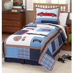 Cars Boy's Bedding Quilt Set with Pillow Sham Teen Boy Bedding, Sports Bedding, Baby Crib Bedding Sets, Kids Bedroom, Bedroom Decor, Bedroom Ideas, Quilt Sets, Kid Beds, Scraps Quilt