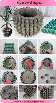 Cement Flower Pots, Diy Concrete Planters, Diy Planters, Diy Crafts For Gifts, Diy Home Crafts, Creative Crafts, Concrete Crafts, Concrete Projects, Diy Projects