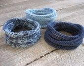 Knitted Cord Bracelets - Set of 3 in Blue Jeans Shades -