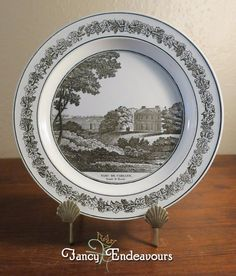 Antique Creil French Creamware Plate of English Scene Old Cadland House #Creil