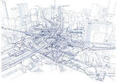 The Architect Tomoyuki Tanaka's Hand-Drawn X-Ray Renderings of Tokyo's Complex Infrastructure - CityLab