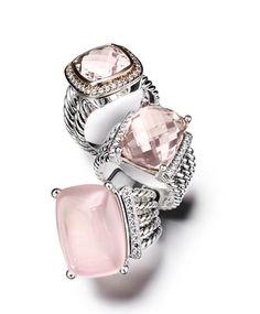 Gorgeous pink & silver David Yurman rings #jewelry #fashion #style