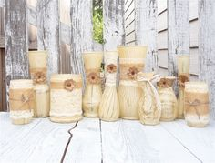 Burlap and Lace Vases Rustic Fall Wedding SHABBY by SoFrickinCute, $139.00 http://www.etsy.com/listing/157548224/burlap-and-lace-vases-rustic-fall?ref=shop_home_active