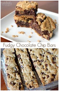 """""""Chocolate chip cookie bars with a fudge filling! Takes cookie bars up a notch, for sure! Fudgy Chocolate Chip Cookie Bars: http://fabulesslyfrugal.com/?p=242510"""""""