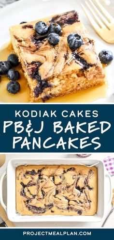 Use my favorite store-bought pancake mix and just four other ingredients to create these Kodiak Cakes Peanut Butter & Jelly Baked Pancakes! Great for brunch or to make-ahead for the week's breakfasts. No flipping required! Baked Pancakes, Pancakes And Waffles, Pancake Squares, Blueberry Jelly, Kodiak Cakes, Waffle Mix, How To Make Pancakes, Breakfast Potatoes, Delicious Breakfast Recipes