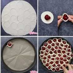 This graphic shows the 5 key steps for making a Cherry Pie Pull Apart(can make w/apple pie filling–cut apples Cherry Desserts, Cookie Desserts, Easy Desserts, Delicious Desserts, Yummy Food, Nutella Pie, Nutella Recipes, Pie Recipes, Dessert Recipes