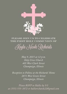 First Communion Invitation from http://replybyoccasions.etsy.com. Quick turnaround, affordable/cheap. Floral, pink, for a girl. Just $10