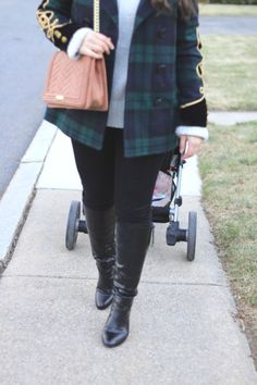 Strolling through Brookline in Plaid. The comfiest plaid Ralph Lauren Coat, a big chunky turtleneck sweater, and a beautiful BCBG cross body bag make this a perfect winter look - my sweet genevieve