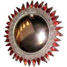 "French Line Vautrin Convex Mirror ""Soleil A Pointes N 1"" ""Sorciere"" Mirror. Signed"