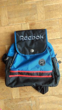 REEBOK BACKPACK Activewear Classic Pack Blue Red Black Sport Zippered  Athletic Nylon This is Reebok backpack