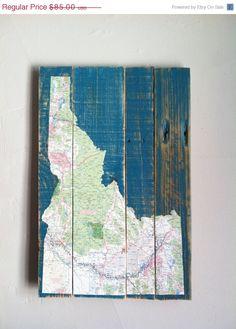 Xmas in July Idaho Map Art Decoupage Map of Idaho by AtomRouge, $59.50