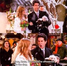 Ross' task at Phoebe's wedding is to hold Mike's dog.