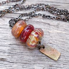 Lampwork Glass Beaded Lariat Necklace Boro Amber Bronze by Venbead, via Flickr