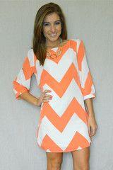 Classic In Chevron Dress (Orange/White)