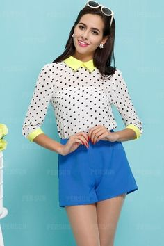 ded6ba0f05635d Beautiful Polka Dot Chiffon Shirt  FDBI00501  - PersunMall.com