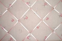Large Laura Ashley Pink Flower / Floral Hand Crafted Fabric Notice / Pin / Memo Board