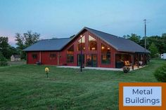 Nucor Building Systems: Custom Metal Buildings - Pre Engineered and Barndominium Interior. Metal Building Insulation, Metal Shop Building, Building Design, Shop Buildings, Steel Buildings, Roof Styles, House Styles, Shop With Living Quarters, Metal Barn Homes