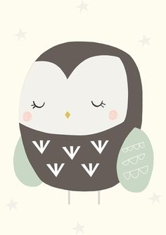 Owl Illustration for baby (by Menudos Cuadros)