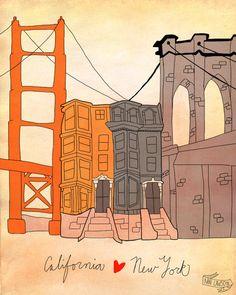 CA & NY - 8 x 10 Illustration Print. $16.00, via Etsy.