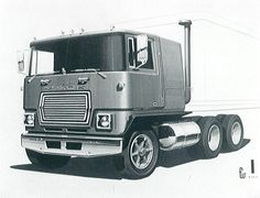 OG | Mack COE-series (cab-over-engine) | Design sketches dated 1972 probably for the Cruise-Liner model launched in 1975.