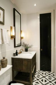 Rustic but sharp with geometric floor in bathroom of Brooklyn Brownstone renovated by Dan Mazzarini of BHDM Design Photos by Brian W Ferry via Lonny Bad Inspiration, Decoration Inspiration, Bathroom Inspiration, Bathroom Renos, Basement Bathroom, Bathroom Flooring, Remodled Bathrooms, White Bathrooms, Bathroom Remodeling