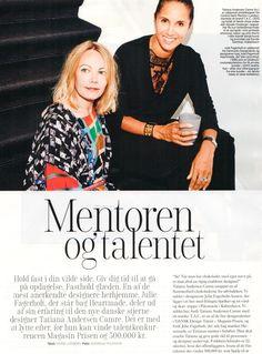 Article with Julie Fagerholt mentoring the new danish design talent Tatiana Andersen Camre in Eurowoman November 2015