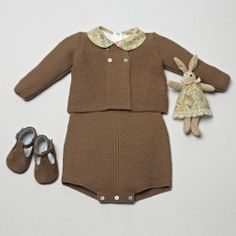 knitted romper and cardigan. Tobaco color. Liberty bodysuit. Silvan bunny Liberty dress. Soft shoes. pepaandcompany
