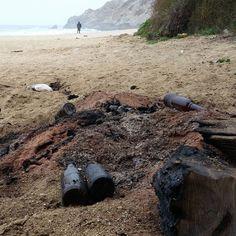 Illegal bonfire with glass bottles on top.  #EarthRespect #beachcleanup #garbage #litter #littering #beachlitter #noexcuseforsingleuse #plastic #plasticpollution #plasticnevergoesaway #plasticpollutionkills #plasticwaterbottlessuck #plastics #recycle #styrofoamsucks #environment #eco #sustainability #beach #ocean #estuary #waves #nature #loveearth #litterati #sanfrancisco #montara #montarabeach #montarastatebeach Re-post by Hold With Hope