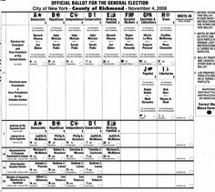 2008 sample ballot for Staten Island, New York (note New York's fusion, so several party lines can show the same candidates)