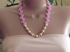 Gold and purple necklace, purple pearl necklace, lilac pearl necklace, purple necklace, gold pearl n Gold Pearl Necklace, Purple Necklace, How To Make Rope, Lilac Color, Stainless Steel Chain, Seed Beads, Pearls, Jewelry, Products