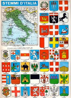 Corrierino e Giornalino Stemmi d Italia Modern History, European History, World History, Knight Armor, Italian Language, Flags Of The World, In Ancient Times, Historical Maps, Illustrations And Posters