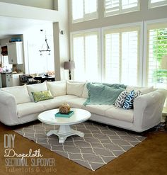 diy dropcoth sectional slipcover tutorial tatertots and jello