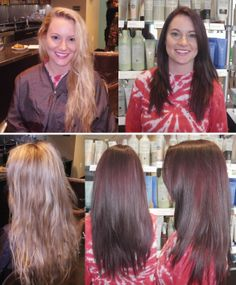 what a fun change! this young lady looked great as a blonde and now looks great as a brunette! thank Aveda color for a rich finish