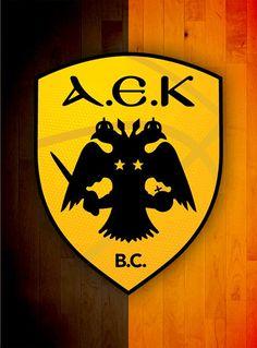 AEK logo in basketball. Ferrari Logo, Mobile Wallpaper, Basketball, Logos, Wallpapers, Goku, Greece, Party Ideas, Nice