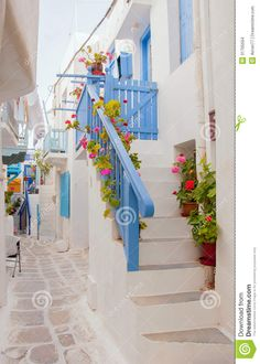 Romantic Street Of Greek Island With Flowers Stock Images - Image ...