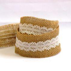 Hessian burlap lace ribbon 50mm 5 yards by SewWhoAreYou on Etsy