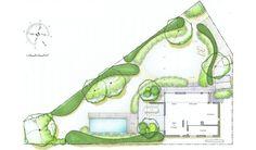 Jardin triangulaire à Nivelles avec piscine