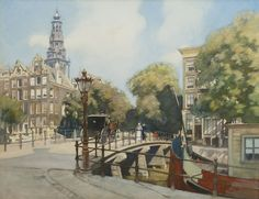Hendrik Willebrord Jansen, Nijmegen 1855-1908 Zeist, Gezicht op de brug over de Kloveniersburgwal, Amsterdam, aquarel op papier