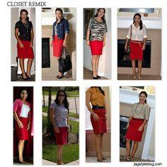 Red skirt pairings
