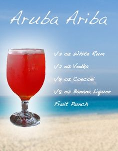 ARUBA ARIBA - The island's best-known cocktail made with Coecoei (a crimson liquor unique to I finally found the recipe! Drank so many of these while in Aruba! Bar Drinks, Cocktail Drinks, Alcoholic Drinks, Cocktail Recipes, Bourbon Drinks, Cocktail Ideas, Fruity Drinks, Vodka, Alcohol Drink Recipes