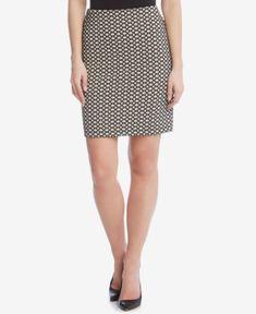 Karen Kane Printed Jacquard Pencil Skirt - Jacquard Print XL