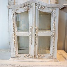 Ornate display cabinet white distressed shabby by AnitaSperoDesign
