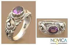 Floral Sterling Silver and Amethyst Ring - Feminine Charm | NOVICA