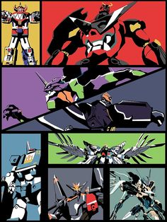 'Super Robots' Poster by SpaceSharq Manga Art, Anime Art, Monokuma Danganronpa, Gurren Laggan, Character Art, Character Design, Mecha Anime, Super Robot, Neon Genesis Evangelion