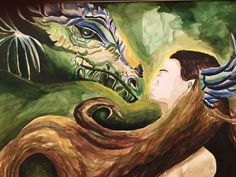 """""""Dragon's muse"""" by Aidana A., high school watercolor, second place, Texas Renaissance Festival School Days Art Competition, 2015"""