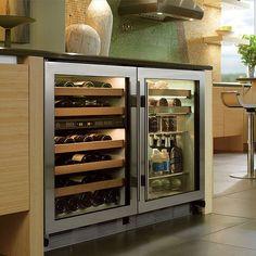 Under-counter Sub-Zero wine and beverage refrigerator.