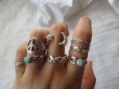 jewels ring star sign hippie peace sign silver moon stone turquoise jewelry opal peace blue silver stars moon turquoise ring cute hipster hippie chic style fashion indi wave finger srat boho