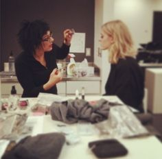 Cheryl the Director of Cosmetics finalizing one of the looks at today's photo shoot! #EvelineCharles