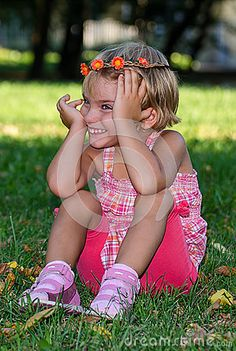 Photo about Girl with wreath - cheerful girl. Image of nice, happy, cheerful - 58836644